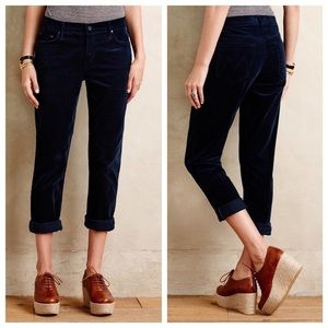 MOTHER The Drop Out Navy Corduroy Pants Blue